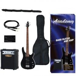 """Pack Guitarra Bajo """"ACADEMY"""" Negro"""
