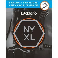 D'Addario EXL110 Set- 3 unidades exl110 + nyxl1046 + Capo lite.
