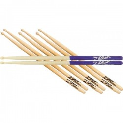 Zildjian 5A Value Pack 3 5A + 1 5A Purple Dip