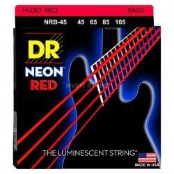 DR NRB45 Juego Bajo 4 cuerdas NEON Red 45-105