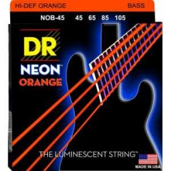 DR NOB45 Juego Bajo 4 cuerdas NEON Red 45-105
