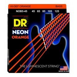 DR Bajo 5 cuerdas NEON Orange 45-125