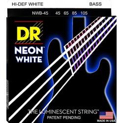 DR Bajo 4 cuerdas NEON White 45-105
